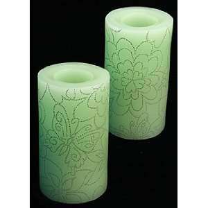 6 Inch Battery Flower Power Pillars Green   Set of 2