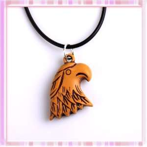 Power Cool Hawk Eagle Head Acrylic Pendant Hide Rope Necklace