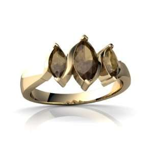 14K Yellow Gold Marquise Genuine Smoky Quartz Ring Size 4 Jewelry