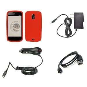Galaxy Nexus (Verizon) Premium Combo Pack   Red Silicone Soft Skin