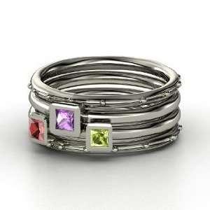 Set, Princess Amethyst Sterling Silver Ring with Peridot & Red Garnet