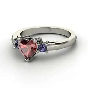 Spark My Heart Ring, Heart Red Garnet 14K White Gold Ring
