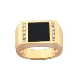 Gold Plated Sterling Silver Onyx and Cubic Zirconia Mens Ring, Size 8