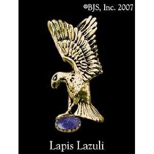 Eagle Hat Tack with Gem, 14k Yellow Gold, Lapis Lazuli set