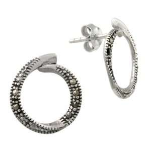 Sterling Silver Marcasite Open Circle Earrings Jewelry