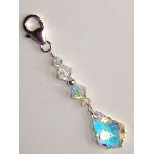Swarovski Crystal AB Zipper Charm / Purse Clip   .925 Sterling Silver