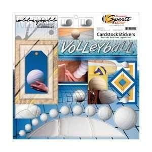 Cardstock Sport/School Stickers 12X12 Sheet Classic Volleyball