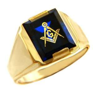 Gold Rings   The Blue Stone Square and Compass Gold Ring Jewelry