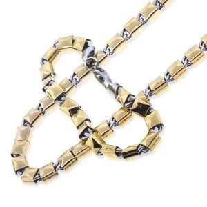 Gold Tone Square Bars Mens Bracelet Chain Set TrendToGo Jewelry