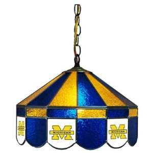 Michigan Wolverines 16 Stained Glass Hanging Lamp Sports & Outdoors