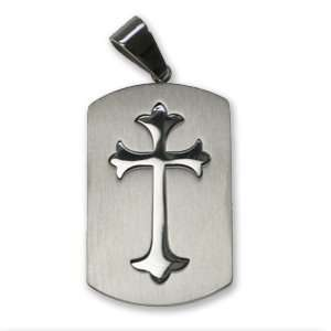 Stainless Steel Pendant with Cross Design   Matte and Shiny Polish