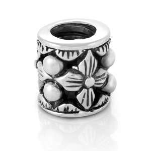 Sterling Silver Antique Style Filigree Flower Bead Charm Fits Pandora