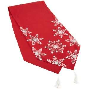 Snow Crewel Embroidered Snowflake Table Runner, Red