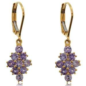 Tanzanite Dangle Earrings 14K Gold Cluster Leverbacks