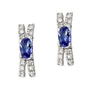 14 kt. Tanzanite & Diamond Earrings White Gold SZUL