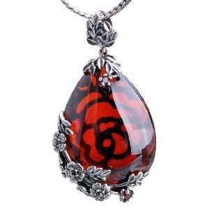 Large Mosaic Garnet Gemstone Pendant Thai Silver With Beautiful Floral