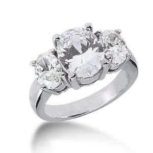 4.5 Ct Diamond Engagement Ring Oval Prong Three Stone 14k