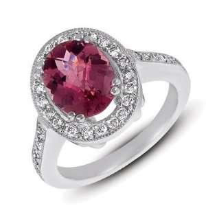 14k White Gold Pink Tourmaline and Diamond Ring   JewelryWeb Jewelry