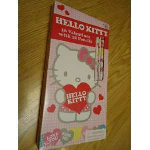 Hello Kittyby Sanrio 16 Valentines cards with 16 Pencils