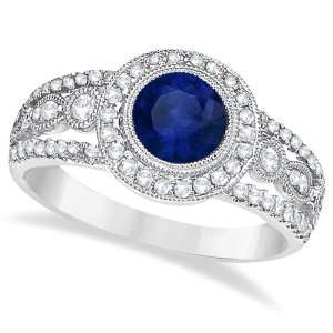 Vintage Blue Sapphire and Diamond Ring 14k White Gold (1