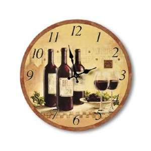 Wine Bottle Glasses Bistro Wall CLOCK 13  Home & Kitchen