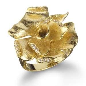 GOLD TONE SATIN FINISH FLOWER RING CHELINE Jewelry