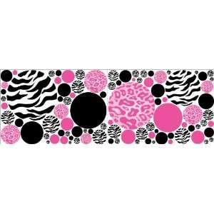Pink Leopard / Cheetah and Zebra Print Polka Dots Wall