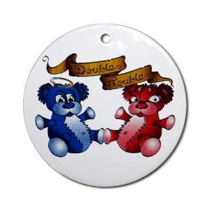 Ornament (Round) Double Trouble Bears Angel and Devil