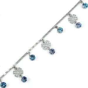 Perfect Gift   High Quality Charming Flower Anklet with Blue Swarovski