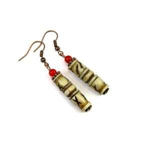Decorative Bone Column with Red China Jade Dangle Earrings Jewelry