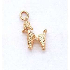 Poodle Dog Charm In 14kt Gold Gold and Diamond Source Jewelry