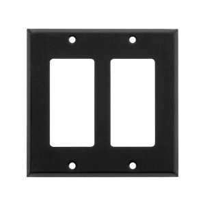 Classic Double Gang GFI Cover Plate In Matte Black.