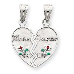 14k White Gold Enameled Mother   Daughter Pendant Jewelry