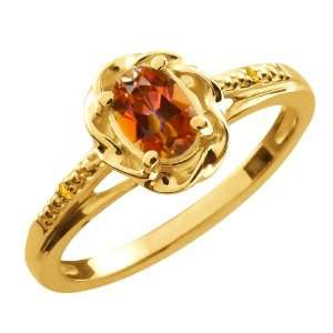 57 Ct Oval Ecstasy Mystic Topaz Citrine Gold Plated Sterling Silver