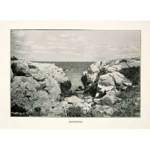 1914 Print Appledore Island Maine Shoals Rock Outcrop Landscape United