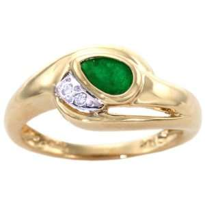 Yellow Gold East West Pear Gemstone and Diamond Ring Emerald, size5.5