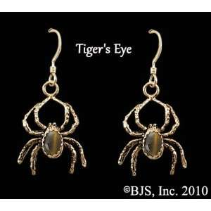 Spider Earrings with Gem, 14k Yellow Gold, Tigers Eye set