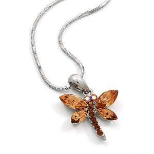 Golden Brown Rhinestone Dragonfly Pendant Necklace Fashion Jewelry