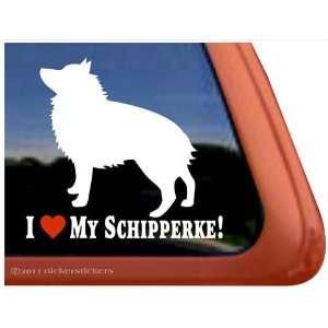 Love My Schipperke Dog Vinyl Window Decal Sticker