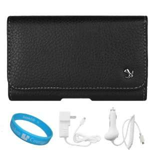 Black Textured Leather Protective Holster Carrying Case