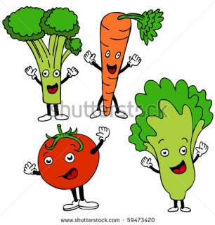 Healthy Food Cartoon Characters Stock Photo 59473420 : Shutterstock
