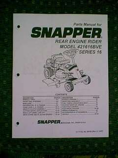 SNAPPER REAR ENGINE RIDING MOWER 421616BVE MANUAL