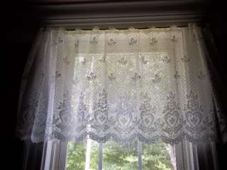 WHITE HEART TIER LACE CURTAIN DESIGN 60 X 24 WLS334