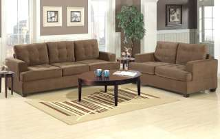 Tan Suede Fabric Sofa and Loveseat Set Couch Love 7143