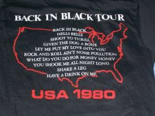 vtg ACDC 1980 Back In Black concert tour t shirt S
