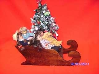 American Girl Doll mini size Furniture Xmas Wooden Sleigh for 7 mini