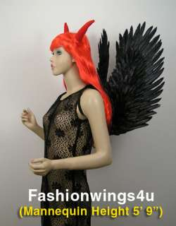 Black feather angel wings & red horned viking wig gothic demon devil