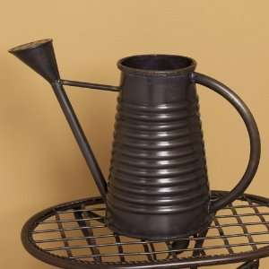 Decorative Dark Antique Copper Watering Can with Ridges