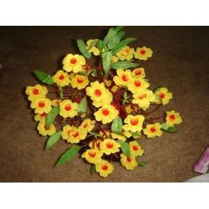 Plastic Artificial Yellow Flower Tree (Hoa Mai) Couple Simple Assembly