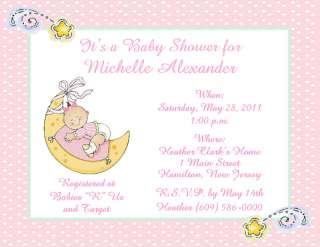 10 Sweet Baby Girl on Moon Personalized Baby Shower Invitations w